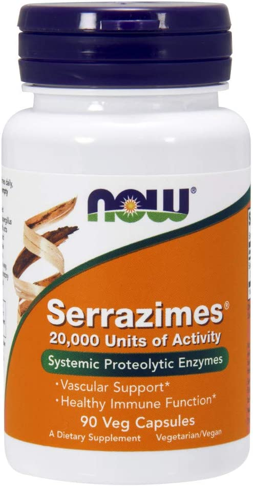 NOW Supplements, Serrazimes (Systemic Proteolytic Enzymes) 20,000 Units, 90 Veg Capsules