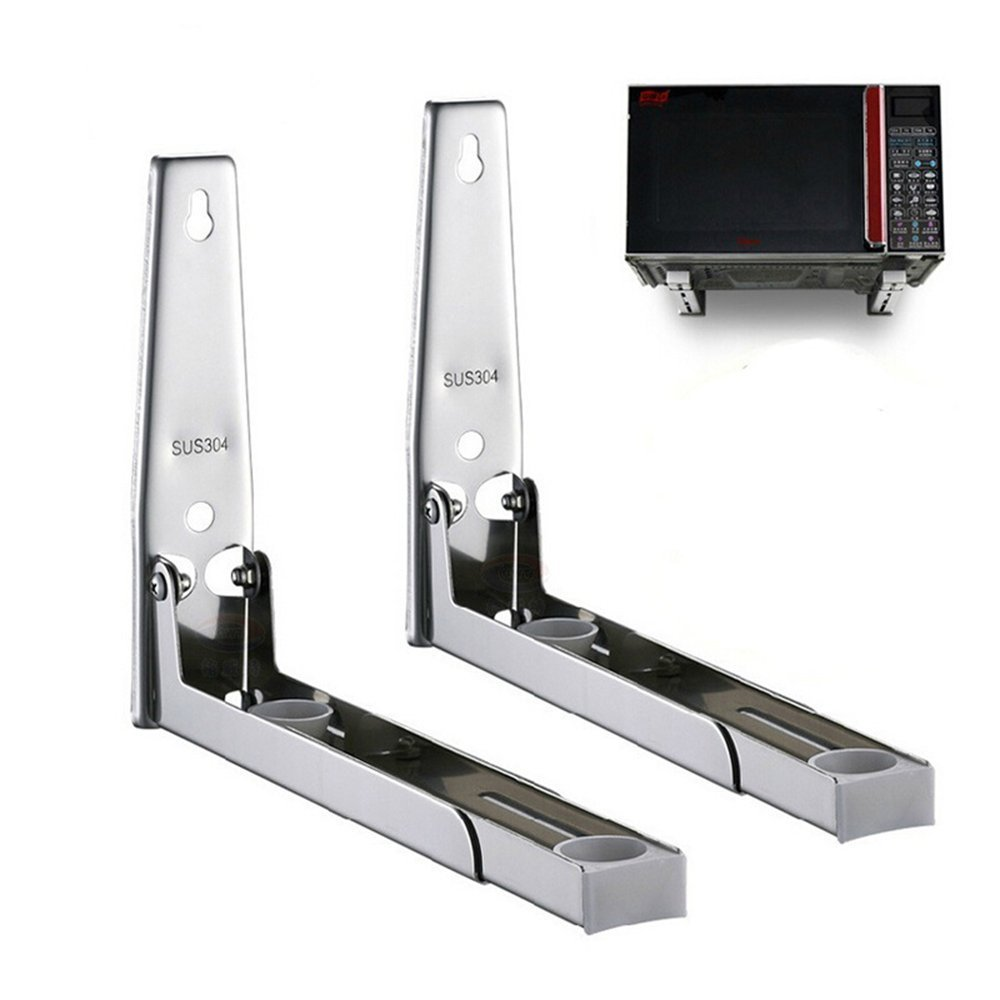 MyLifeUNIT 304 Stainless Steel Microwave Oven Wall Mount Bracket, Retractable Microwave Wall Stand Shelf Rack KC16L074