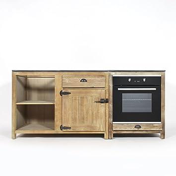 lot de deux meubles de cuisine bois recycl jc1513 ouvert