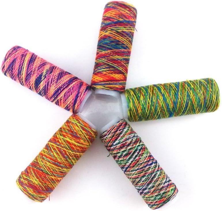 yueton 20 Spools 120 Yard Per Unit Gradient Color Rainbow Polyester Sewing Thread