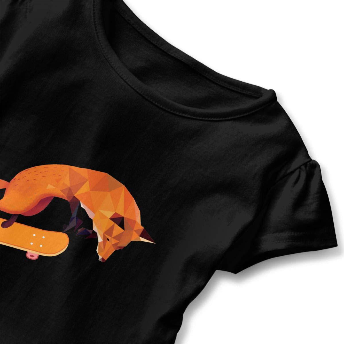 CZnuen Cool Fox Play Skateboard 2-6T Baby Girls Cotton Jersey Short Sleeve Ruffle Tee