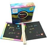 VEHIRIN Rainbow Scratch Art Notes Mini Boards 50 Sheets With Two Wooden Stylus Drawing Pens