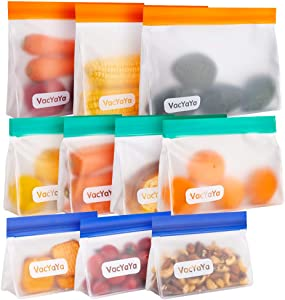 VacYaYa10 Pack Reusable Standup Food Storage Bags BPA Free(3Reusable Freezer Bags + 4 Reusable Sandwich Bags + 3 Reusable Snack Bags) Thick Waterproof Leakproof Bags