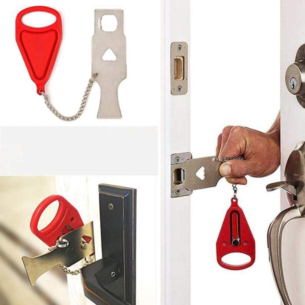 Gonikm Portable Security Self-Defense Door Stopper Travel Hotel Door Locks Cabinet Locks /& Straps