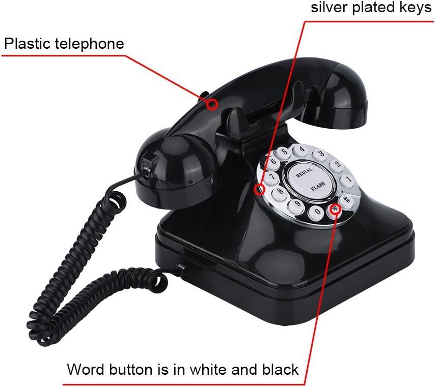 Tihebeyan Retro Wire Festnetz Schnurgebundenes Telefon Vintage Festnetz Altmodisches Schreibtischtelefon f/ür Privatanwender und B/üro Schwarz