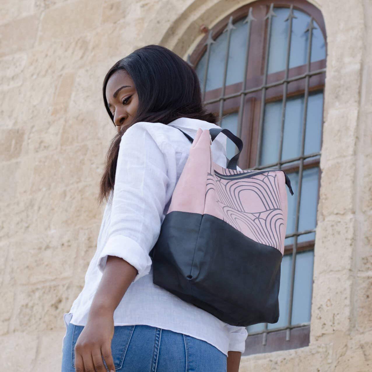 Pink Knapsack, Faux Leather Backpack, Travel Rucksack, School Work Laptop Bag For Women, Vegan Rucksack