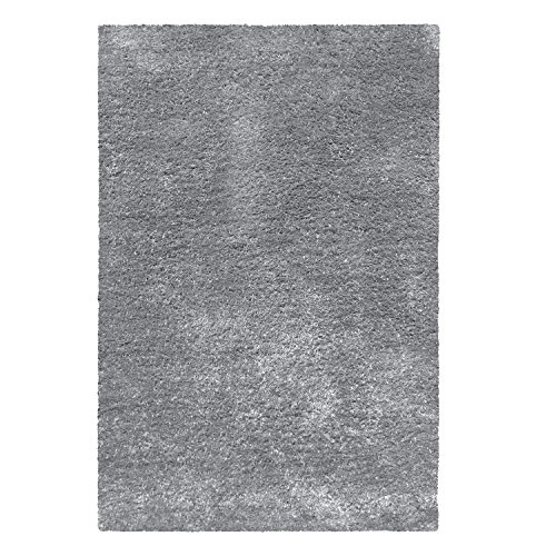 (Superior Shag 5' x 8' Grey Modern Area Rug, Hand-Tufted Cotton Blend Contemporary Living Room & Bedroom Area Rug, 5-feet by 8-feet)