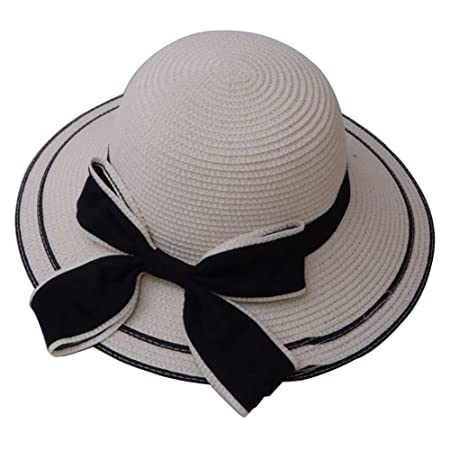 TREESTAR Summer Fashion Round Sun Hat Black Large Bow Decoration Dome  Bowler Woman Outdoor Seaside Beach f14e6997b22d