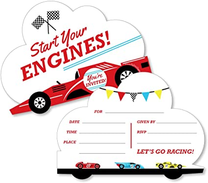 8 SPEED RACER INVITATIONS ~ Birthday Party Supplies Stationery Cards Notes