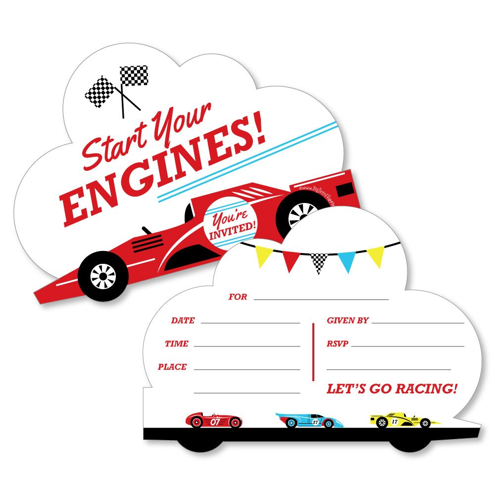 Let's Go Racing Racecar Shaped Fill in Invitations Race Car Birthday Party or Baby Shower Invitation Cards with Envelopes Set of 12