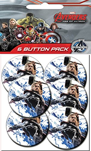 C&D Visionary The Avengers 2 Movie Age of Ultron Thor Hammer Prepack Buttons (6 Piece), 1.25'' by C&D Visionary