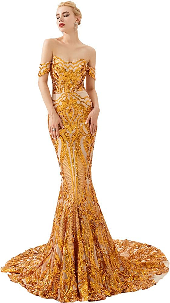 gold01 Datangep Women's Sparkly Sequins Bridesmaid Dresses 2019 Long Mermaid Trumpet Keyhole Prom Formal Gowns