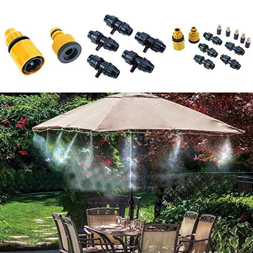 - Hose Gun - 5m Hose 5pcs Spray Head Outdoor Garden Misting Cooling System Mist Nozzle Sprinkler Water Kits - Erza Watering Lawn Nursery Nozzle Cooling Cosplay Bottle System Spray Mist Water Gard