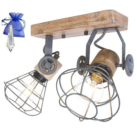 GiveAway 1579GR Mexlite - Lámpara de techo (madera, rejilla ...