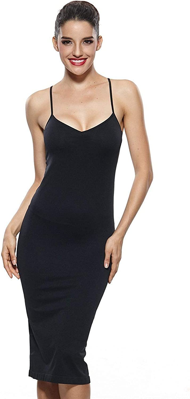 KHAYA Womens Seamless Long Slip Dress Spaghetti Strap Full Slip