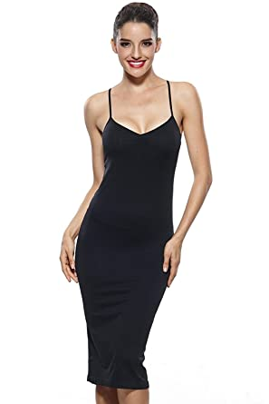 e55b6907aea KHAYA Women s Seamless Long Slip Dress Spaghetti Strap Full Slip at Amazon  Women s Clothing store