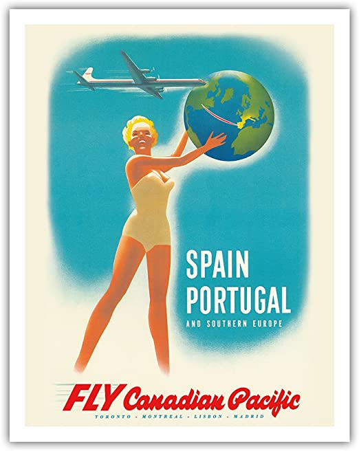 20x30 1950s Canada By Train Vintage Style Candian Pacific Travel Poster