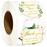 """Fancy Land Thank You for Supporting My Small Business Stickers Floral Appreciation Labels for Shops Homemade Crafts 2"""" 500 Pc"""