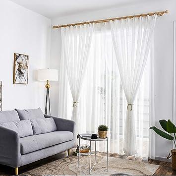 WENROUMIAO Weiß Sheer Vorhang, Elegante Schlafzimmer Semi ...