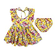 Armelo's Baby Girl Infant Newborn Casual 2-Piece Summer Yellow Foral Dress set with Briefs(12-18Months)