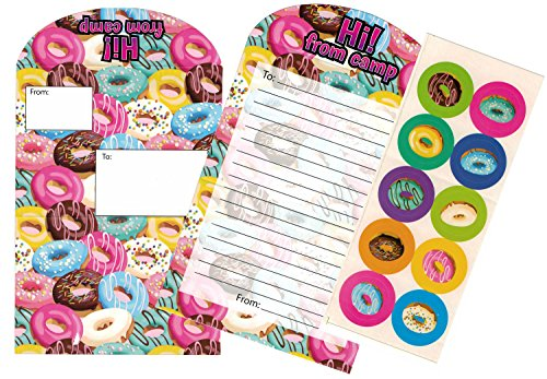 (Gilbins Campers Collection Seal And Send Stationery For Camp With Flip Stickers (Crazy Donuts))