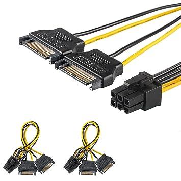 [2 Paquete] J&D 2X SATA Alimentación 15 Pines a 6 Pines PCIe Express Tarjeta de Video de Adaptador de Cable de Alimentación.