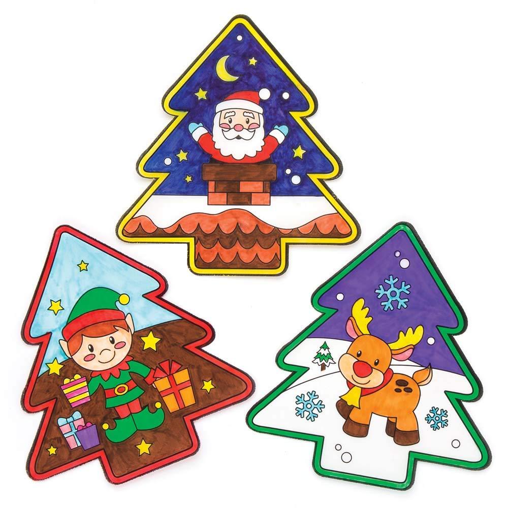 Pacco da 12 Lavoretti Decorativi di Natale per Bambini. Baker Ross Decorazioni da Finestra Natalizie da Colorare