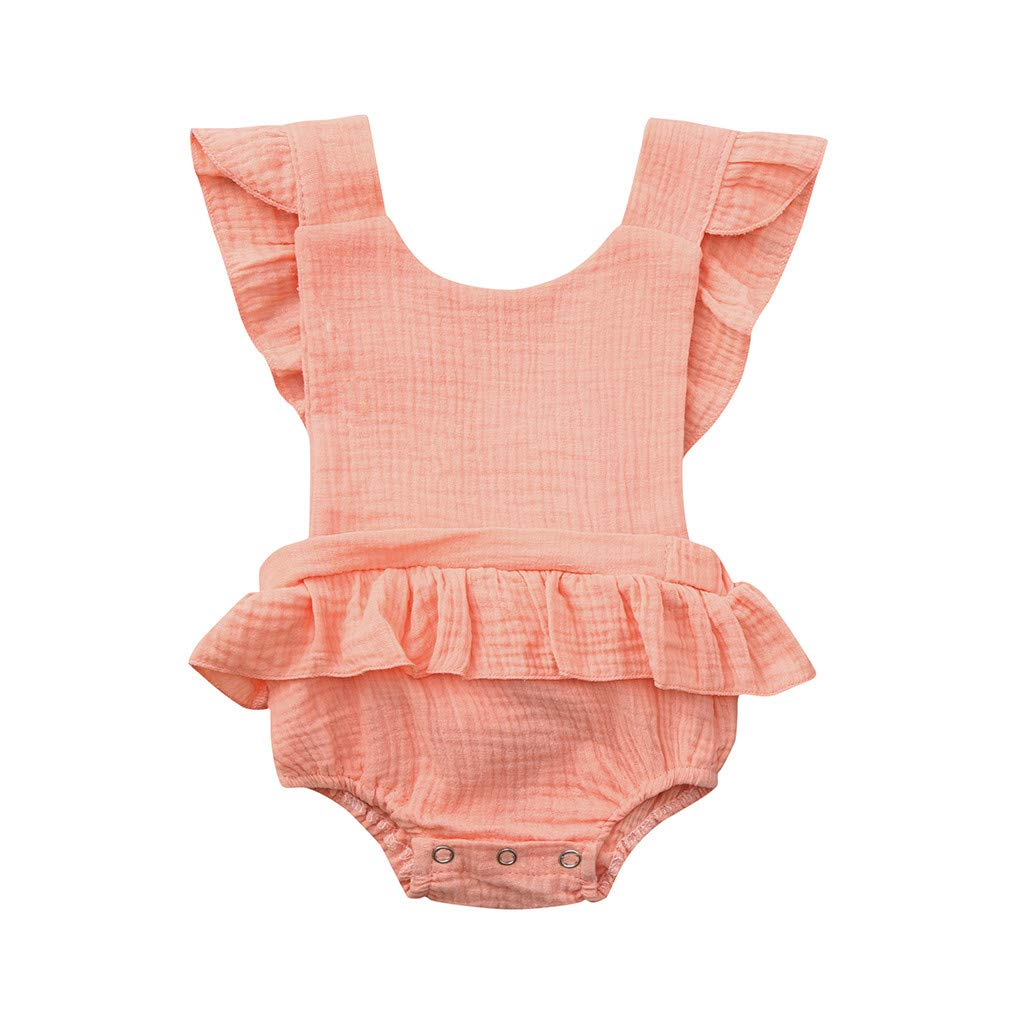 NUWFOR Newborn Infant Baby Girls Color Solid Ruffles Backcross Romper Bodysuit Outfits(Pink,0-6 Months)