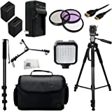 "Professional Accessory Package For Sony NEX-VG30H HD Professional HD Camcorders Includes 3 Piece Filter Kit (UV-CPL-FLD) + 2 Extended Life Replacement Batteries (NP-FV100) + AC/DC Rapid Home & Travel Charger + Mini HDMI Cable + 72"" Tripod + Monopod + Tripod Dolly + Large Carrying Case + LED Video Light + Microfiber Cleaning Cloth"