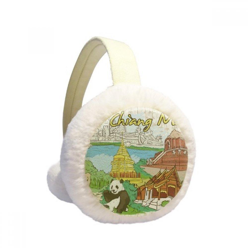 Thailand Chiang Mai Panda Temple Winter Earmuffs Ear Warmers Faux Fur Foldable Plush Outdoor Gift