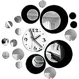 TOOGOO(R)3D di cristallo Effetto Specchio Orologio da parete Circolare Composite DIY Moderno Circle Design Nero