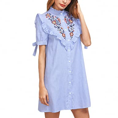 8ec0b51e22 Women Summer Dress Ladies Short Sleeve Shift Dress Blue Striped Embroidered  Shirt Dress at Amazon Women s Clothing store