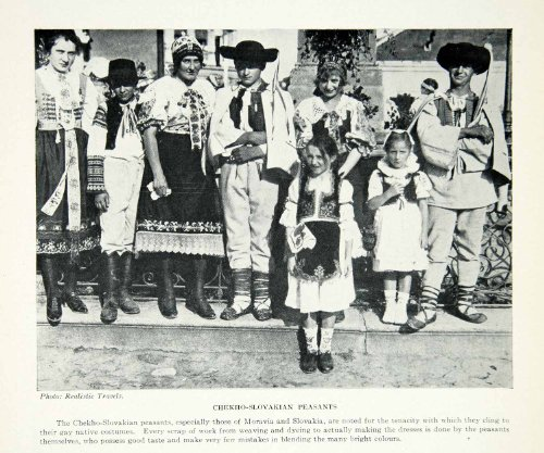 [1925 Print Czechoslovakia Peasants Portrait Children Folk Costume Ethnic Fashion - Original Halftone] (Czechoslovakia Folk Costumes)