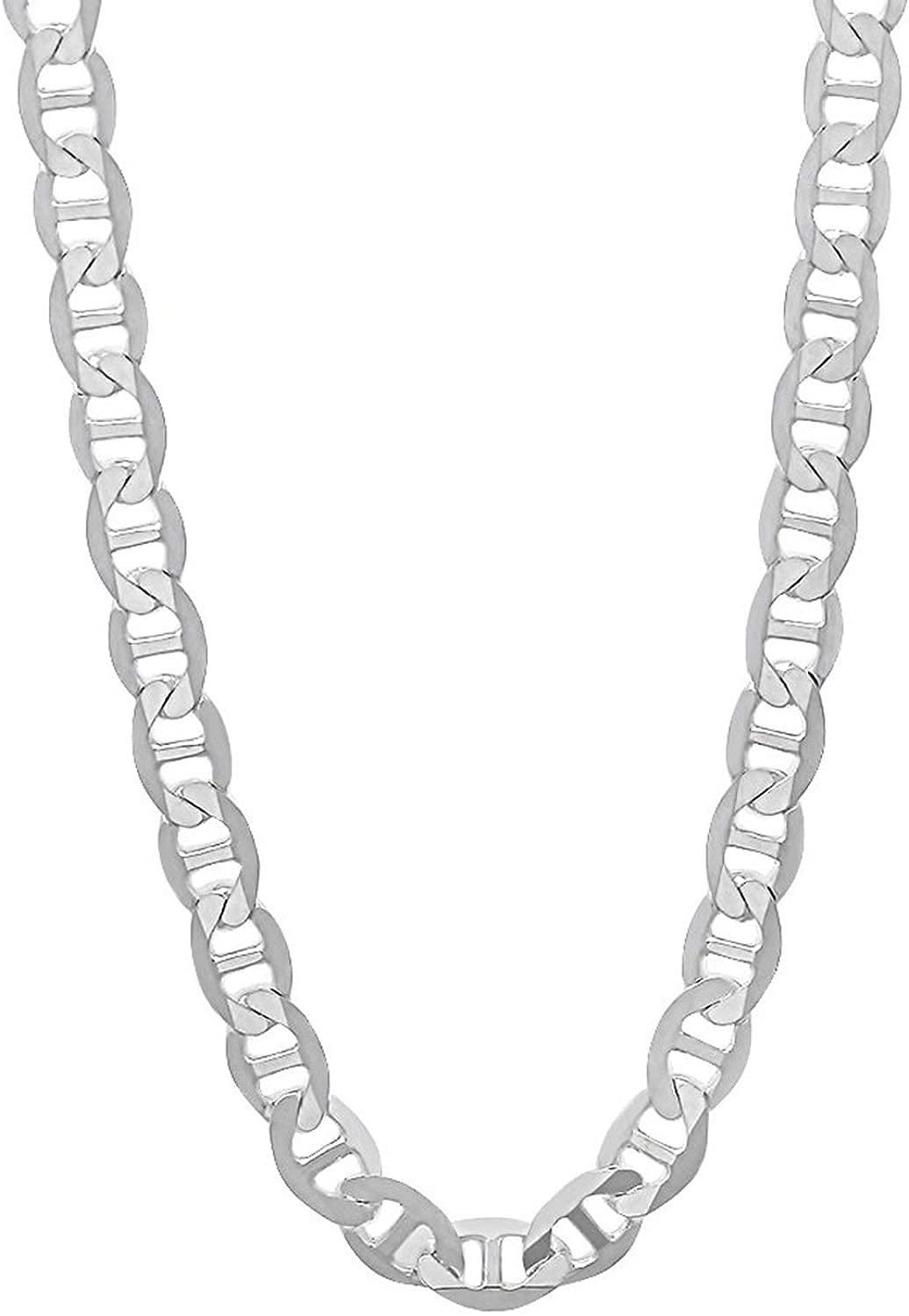 Pori Jewelers 925 Sterling Silver 2mm, 3mm, 3.5mm, 5.5mm Flat Mariner/Marina Link Chain Necklace