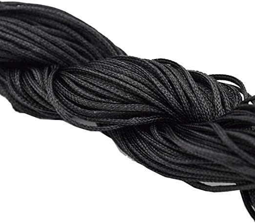 1 mm BLACK shamballa nylon WAXED cord 25 meters