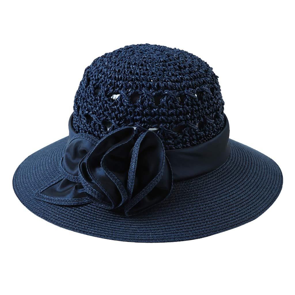 bluee Straw Hat HandWoven, Seaside Resort Beach Sunhat Sunscreen (color   bluee)