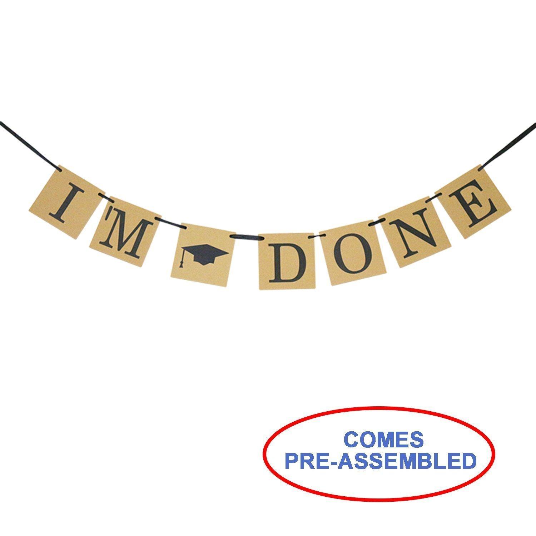 Graduation Banner - I'm Done Banner with Gradn Cap Symbol - Graduation Party Decorations Partyprops