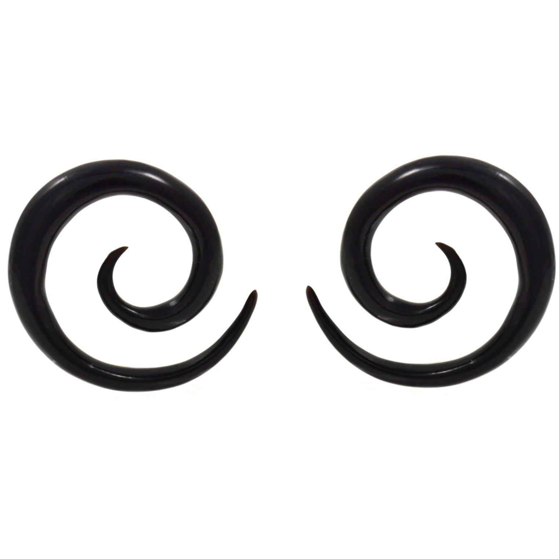Pair (2) Black Buffalo Horn Spiral Tapers Organic Ear Plugs Stretchers 8G 3mm