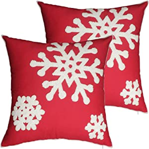 Aboufunny Red Christmas Outdoor Pillow Covers,Snowflake Decor Cuhsion Covers,Cozy Embroidery Pillowcases for Home,Living Room,Couch,Sofa,18x18 Inches,2-PAK