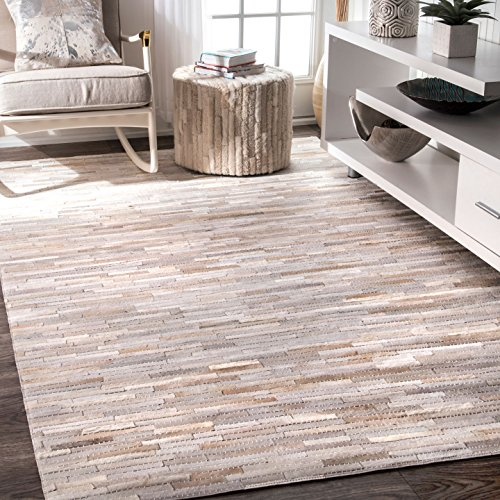 nuLOOM Alabaster Collection 100-Percent Cow Hide Area Rug, 5-Feet by 8-Feet, Animal, Beige - Alabaster Area Rug