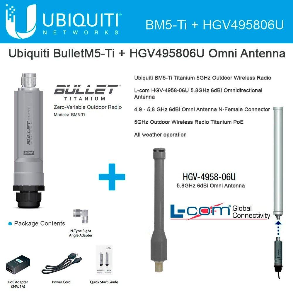 Ubiquiti BulletM5-Ti BM5-Ti Titanium Outdoor Radio + 5.8GHz 6dBi Omni Antenna by Ubiquiti Networks