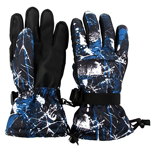 Lined Windproof Gloves (Ski Gloves, Winter Waterproof Outdoor Insulated Lined Windproof Warm Snow Gloves for Men & Women, Gloves for Skiing, Snowboarding (Blue XL))