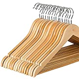 Multifunctional Solid Wood Suit Hangers with Non Slip Bar and Chrome Hooks by Zober - Natural Finish Wooden Coat Hangers - 20 Pack