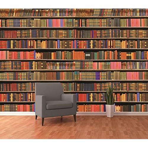 1 Wall Colourful Library Bookshelf Wallpaper Mural 315 X 232m Wood Multi