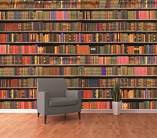 1Wall Colourful Library Bookshelf Wallpaper Mural, Wood, Multi ...