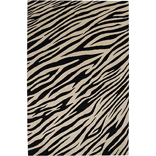 (Surya Mugal IN-8574 Contemporary Hand Knotted 100% Semi-Worsted New Zealand Wool Ivory 5' x 8' Animal Area Rug)