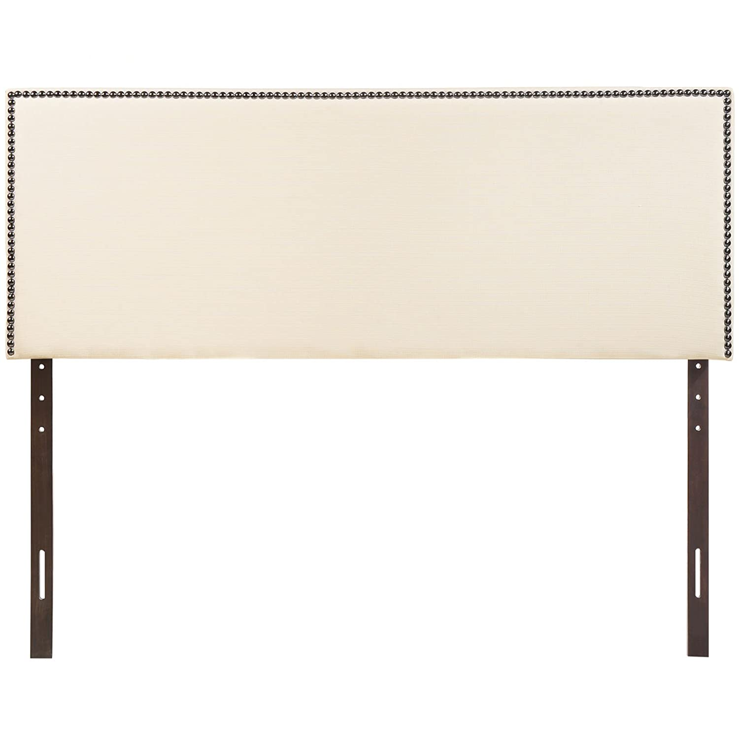 amazoncom modway region upholstered linen headboard queen size with nailhead trim in ivory