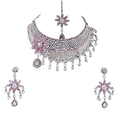 84e7553294113 Finekraft Crystals Pearls Zircon Silver Plated Necklace Jewelry Set for  Women