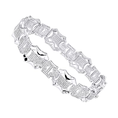 c90b195bf46cf Amazon.com: Solid 10k Gold Diamond Bracelet For Men 3ctw (White Gold ...