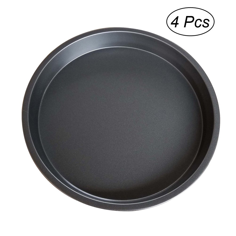OUNONA 4 Pcs 8 Inch Professional Non-Stick Deep Dish Pizza Pan Tray Round Baking Plate Bakeware
